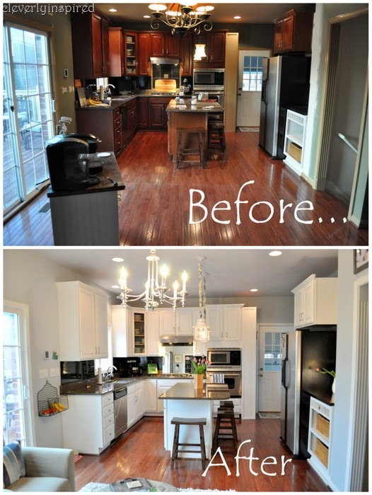 Remodelaholic how new lighting and paint brightened up a Best white paint for kitchen cabinets behr