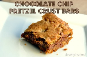 Chocolate Chip bars with Pretzel Crust