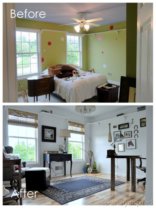 Bedroom turned into an Office: Reveal - Cleverly Inspired