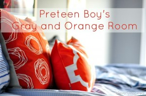 Preteen Boys room REVEAL: Gray, Orange, Blue (decorating boys room)