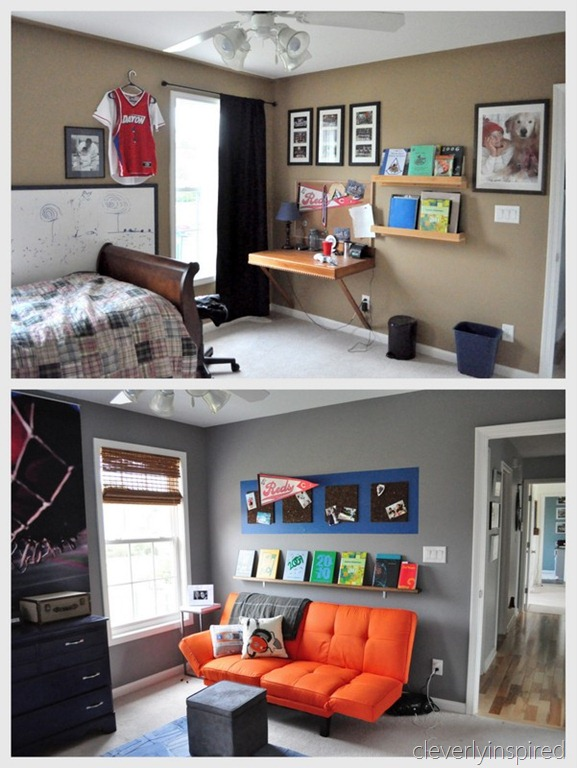Boys gray and orange bedroom reveal decorating boys room - Boys room decor ...
