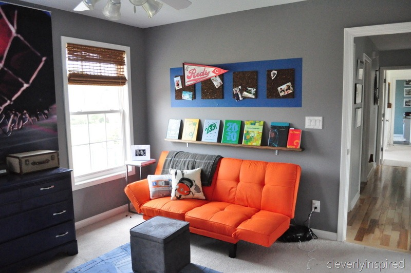 Boys gray and orange bedroom reveal decorating boys room for Room interior design for boys
