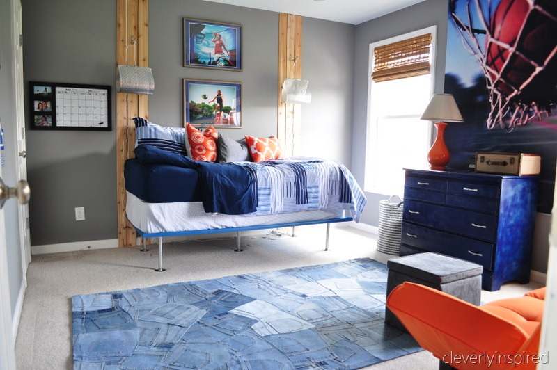 Boys gray and orange bedroom reveal decorating boys room for Decorating teen boys room