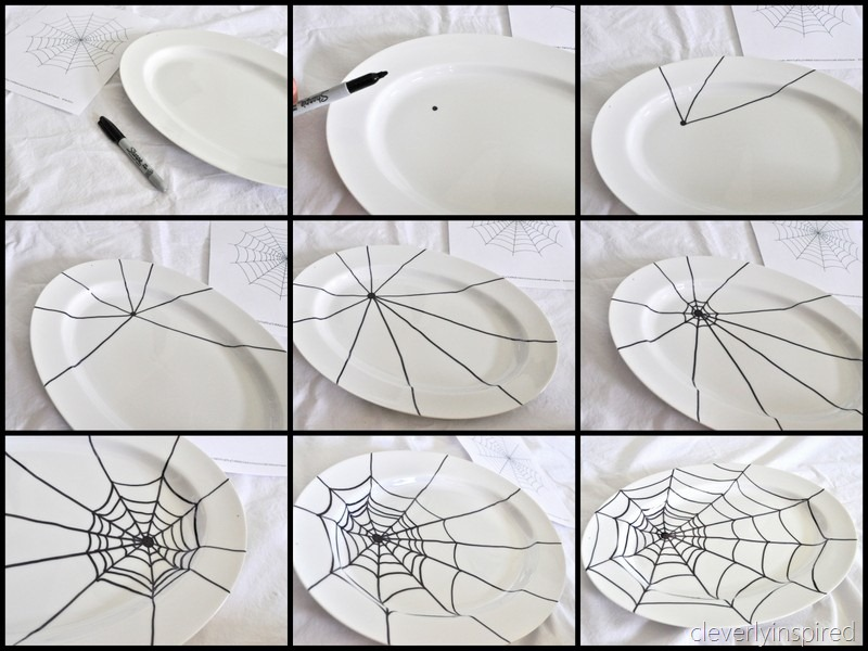 sharpie spider web platter diy cleverlyinspired 1