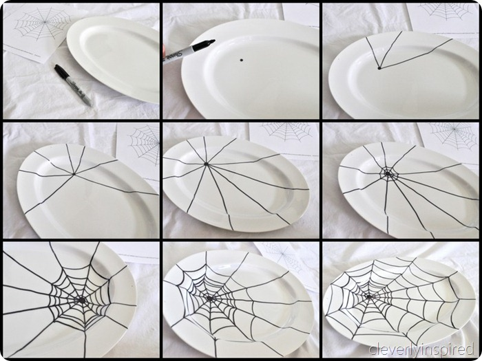 sharpie spider web platter diy @cleverlyinspired (1)