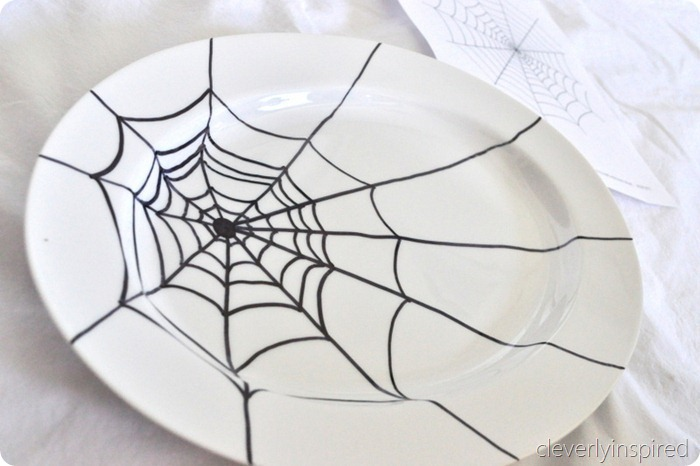 sharpie spider web platter diy @cleverlyinspired (2)