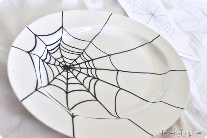sharpie spider web platter diy @cleverlyinspired (2)