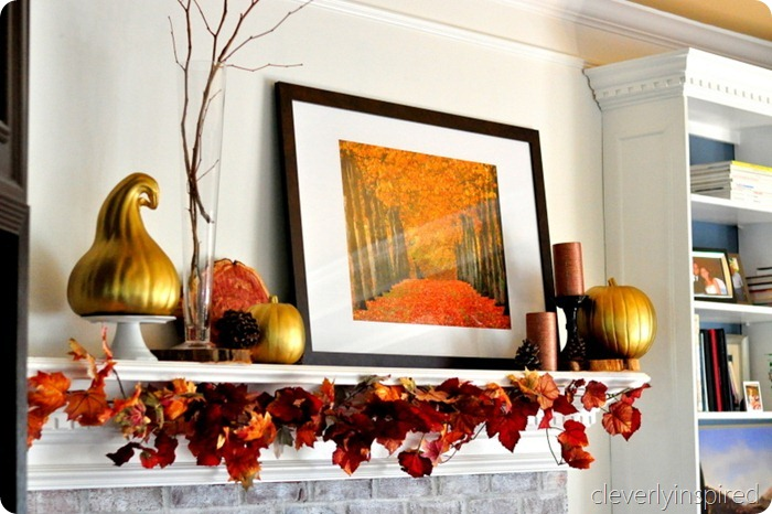 decorating a fall mantle @cleverlyinspired (6)