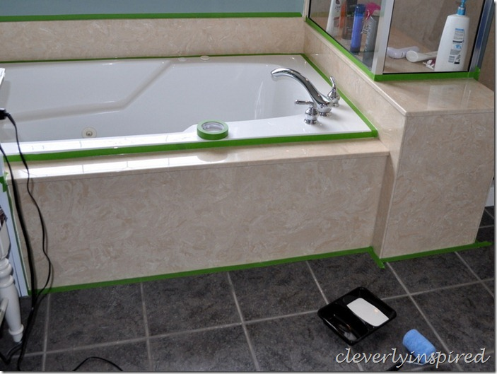 how to paint cultured marble tub surround @cleverlyinspired (11)