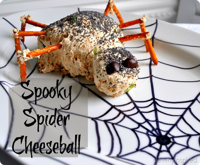 spider cheese ball (halloween appetizer) @cleverlyinspired (8)