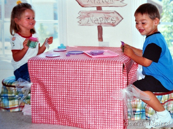covered table and chairs for kids @cleverlyinspired