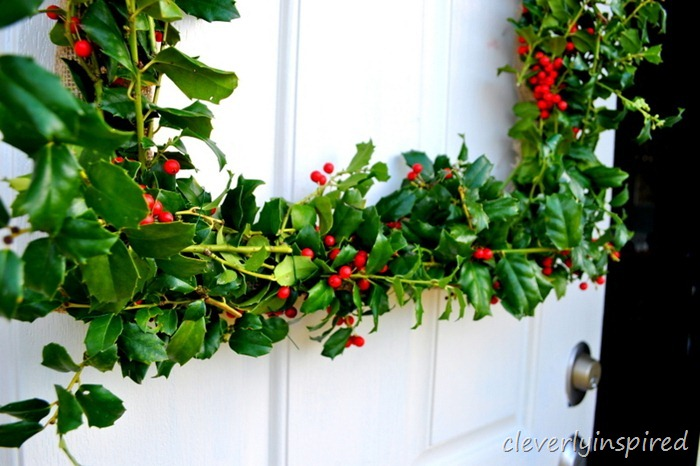 how to make a square holly wreath @cleverlyinspired (1)