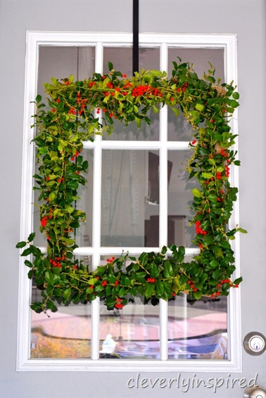 how to make a square holly wreath @cleverlyinspired (3)