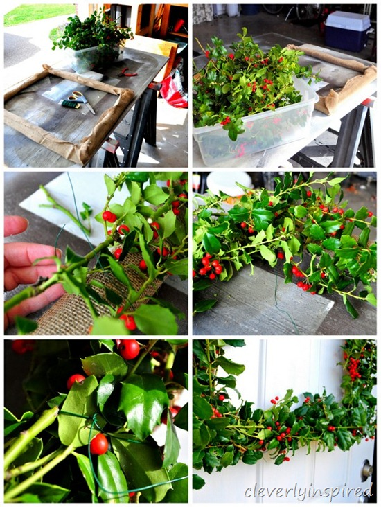 how to make a square holly wreath @cleverlyinspired (4)