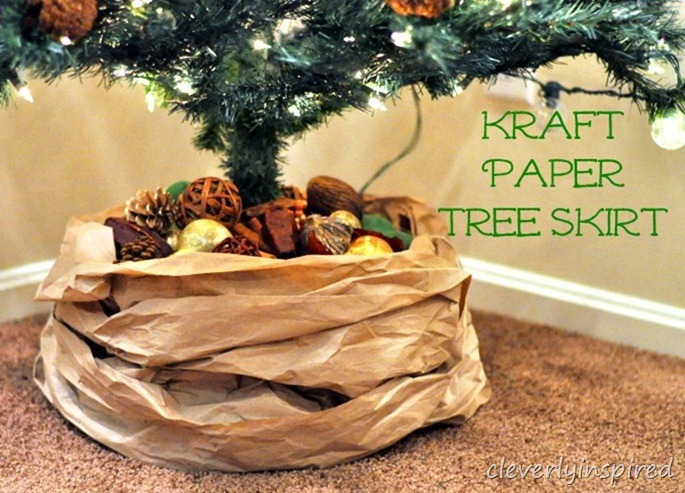 kraft paper tree skirt DIY @cleverlyinspired (4)