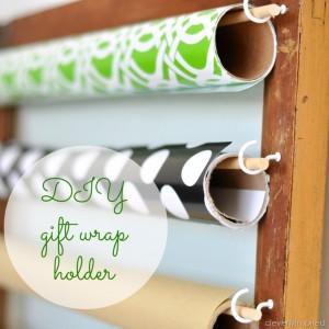 DIY Gift Wrap holder (repurpose an old door)