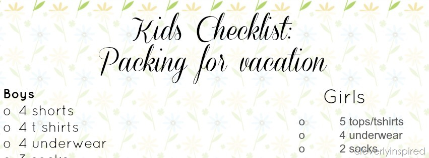Packing For Vacation Kids Clothing Checklist