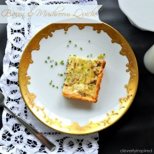 Bacon & Mushroom Quiche recipe (make ahead breakfast)
