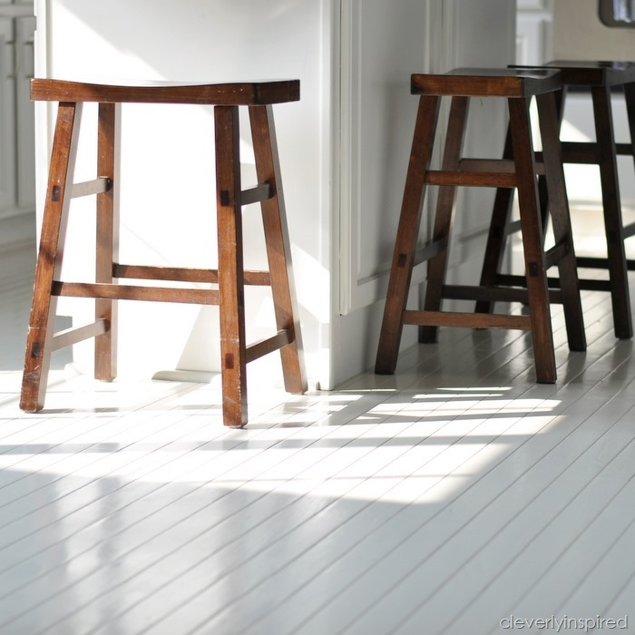Gorgeous!! How To Paint Prefinished Hardwood Floors Reveal  @cleverlyinspired (4)