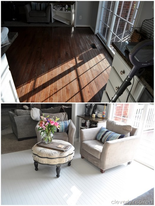 how to paint prefinished hardwood floors reveal @cleverlyinspired (9)