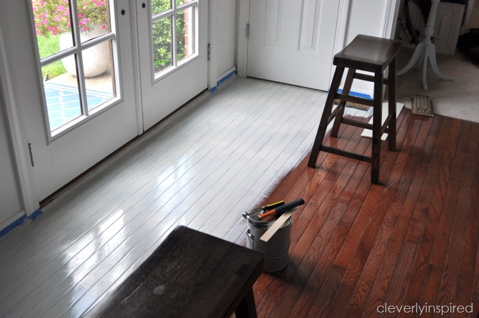 Painting a prefinished hardwood floor for Wood floor paint colors
