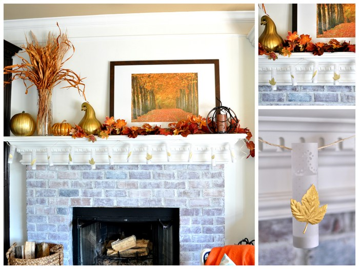 diy mini luminaries @cleverlyinspired fall mantle decor (11)