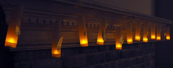 diy mini luminaries @cleverlyinspired fall mantle decor (6)