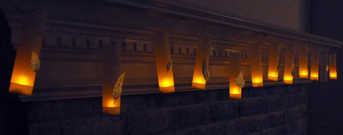 diy mini luminaries @cleverlyinspired fall mantle decor (6)