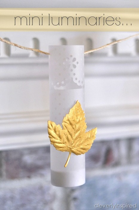 diy mini luminaries @cleverlyinspired fall mantle decor (1)