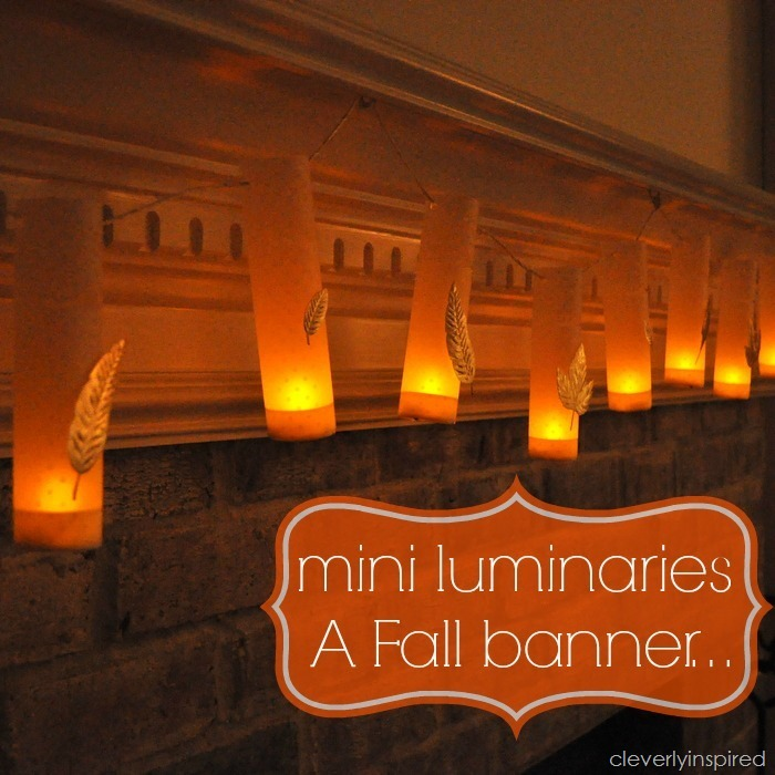 diy mini luminaries @cleverlyinspired fall mantle decor (3)