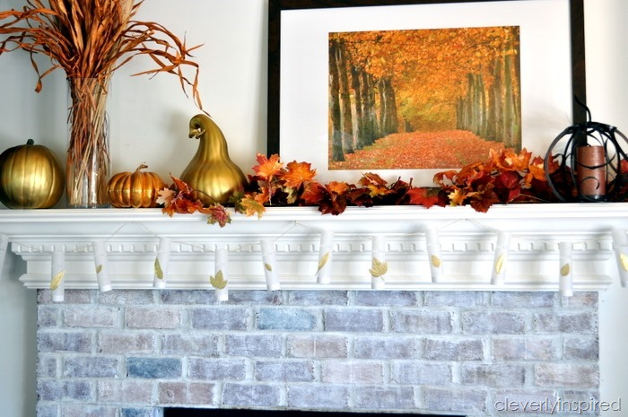 diy mini luminaries @cleverlyinspired fall mantle decor (5)