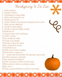 25 things to do now (Thanksgiving Prep List)