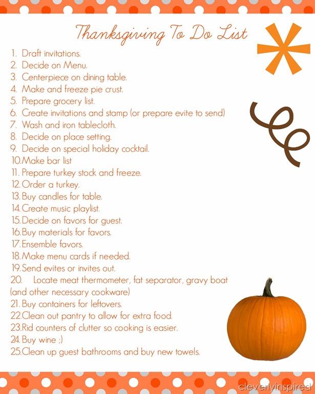 hosting thanksgiving list