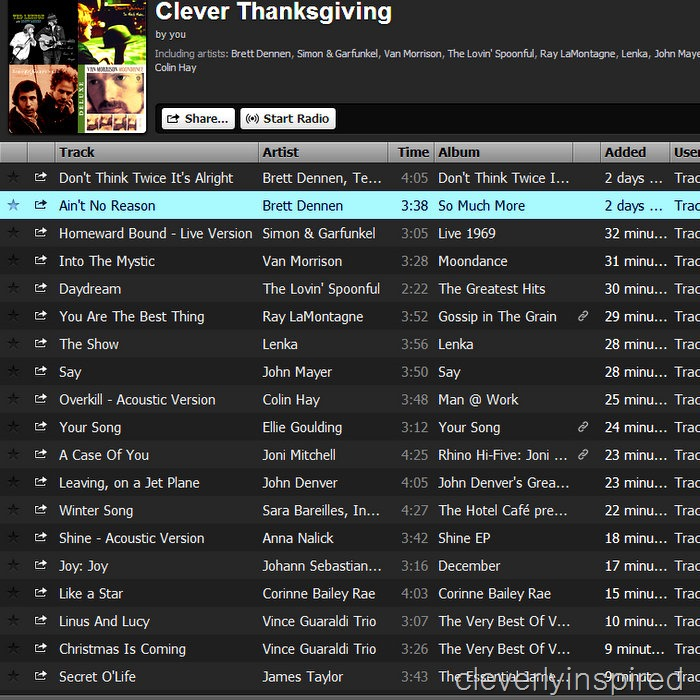 cleverlyinspired Thanksgiving music playlist