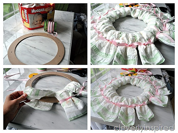 diy diaper wreath (baby shower decoration) @cleverlyinspired (5)