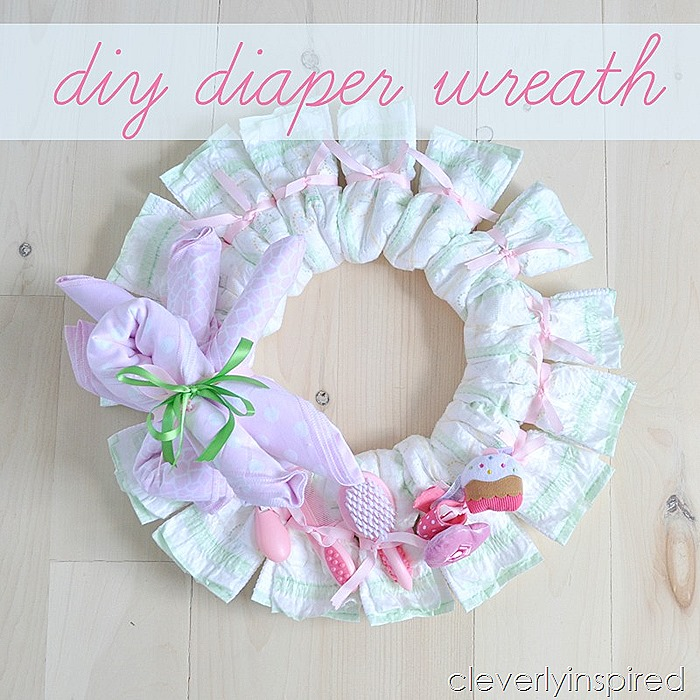 diy diaper wreath (baby shower decoration) @cleverlyinspired (6)