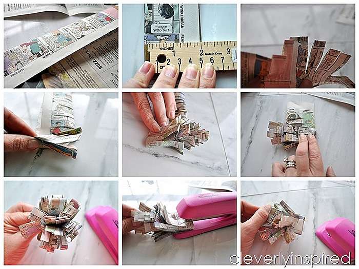 make a newspaper flower @cleverlyinspired (10)