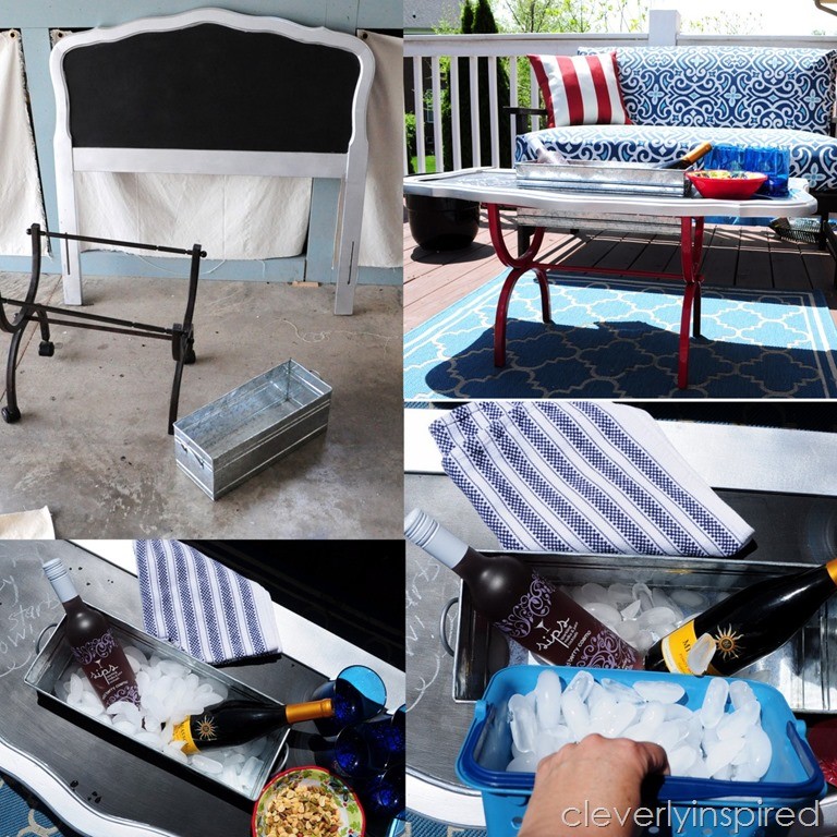 Twin headboard becomes outdoor cooler table repurpose for Outdoor coffee table with cooler