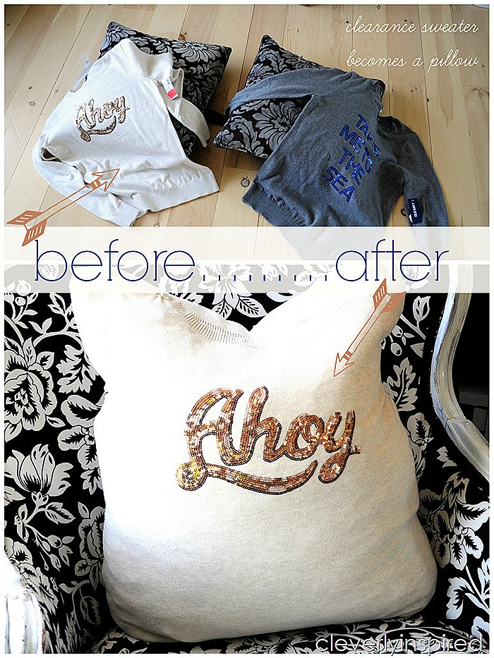 no sew pillow cover from sweater @cleverlyinspired (1)