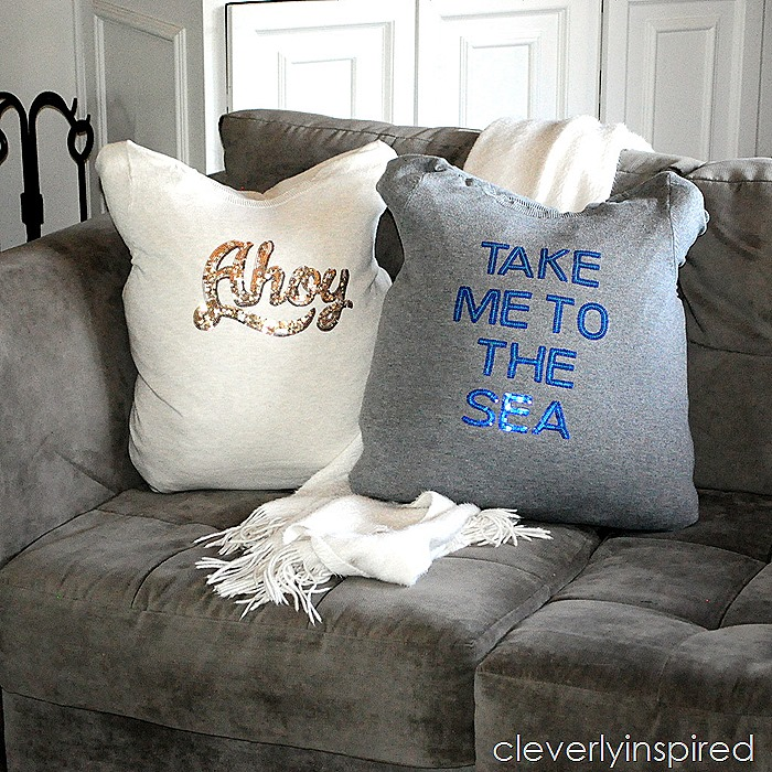 no sew pillow cover from sweater @cleverlyinspired (4)