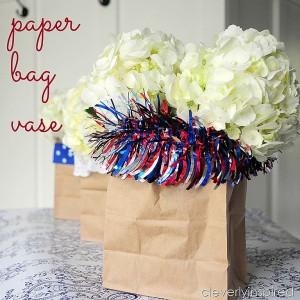 Paper bag vase: Patriotic decor