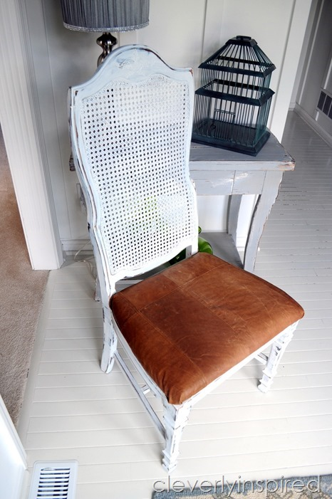 leather coat becomes chair seat (3)