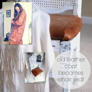 Repurpose Leather coat idea (refinished chair DIY)