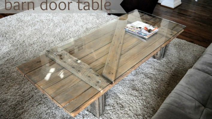 Barn door becomes coffee table…