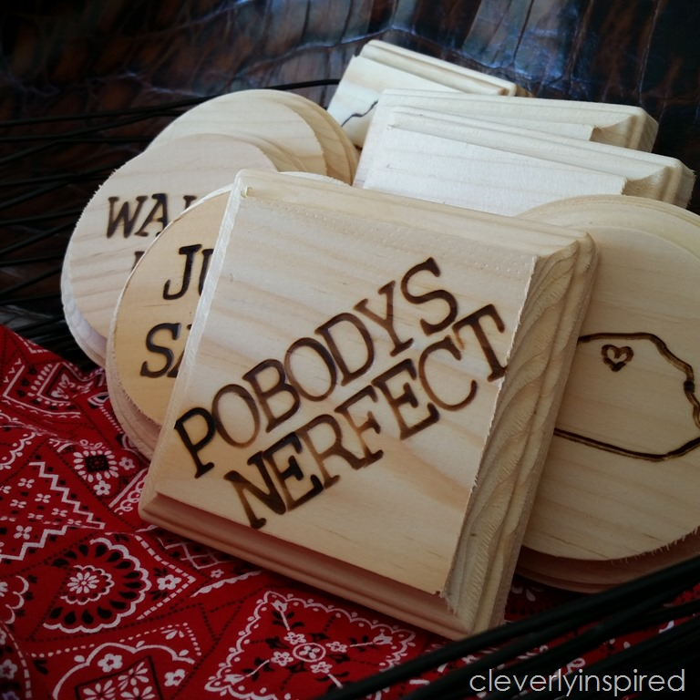 diy wood coasters cleverly inspired. Black Bedroom Furniture Sets. Home Design Ideas