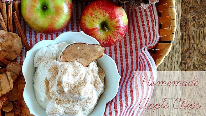 Homemade Apple Chips with Cinnamon Sugar whipped crème