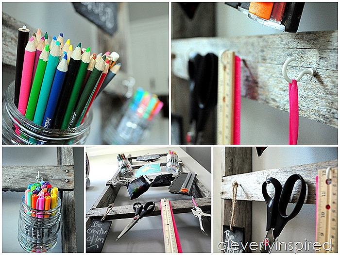 repurposed old ladder office organizer @cleverlyinspired (10)