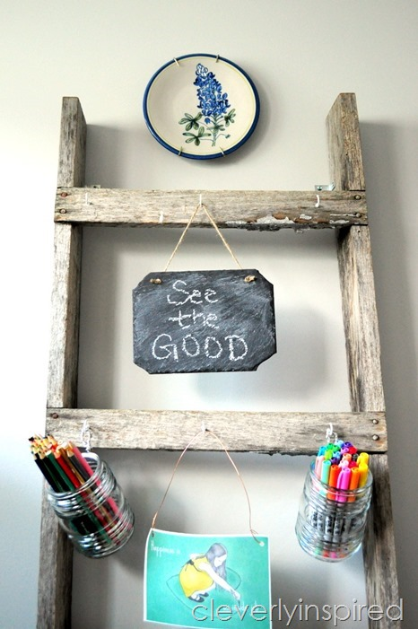 repurposed old ladder office organizer @cleverlyinspired (3)