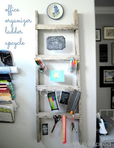 Repurposed Ladder into Office Organizer