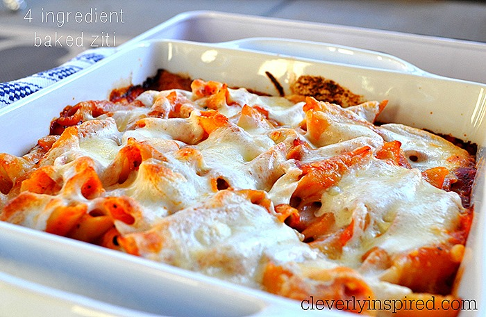 4 ingredient baked ziti @cleverlyinspired